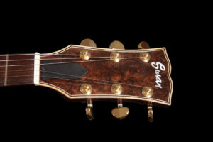 Flame Guitars burl walnut headstock