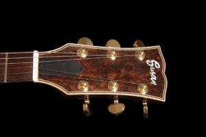 Flame Guitars burl walnut headstock